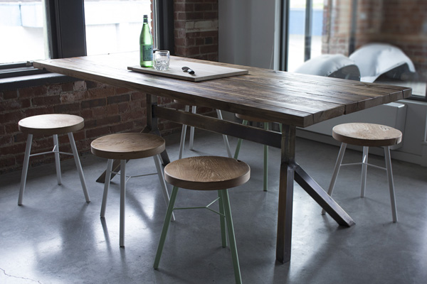 Custom made solid wood modern industrial furniture in vancouver