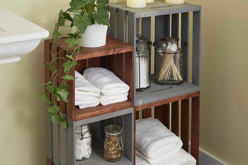 A DIY storage unit build with nothing but some old wooden crates.