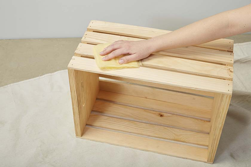 A small wooden crate is the starting point for this DIY project.