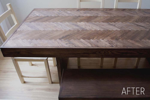 The finished product. A beautiful dining room table created from an old worn out door.
