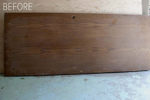 The starting piece of the project; an old door that can be repurposed into a DIY dining table.